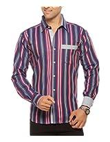 Moksh Men's Striped Casual Shirt V2IMS0414-257 (Large)