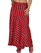 Exotic India Wrap-Around Skirt with All-Over Polka Printed Dots - Color Spiced CoralGarment Size Free Size