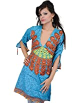 Exotic India Cendre-Blue Kurti from Gujarat with Printed Floral Mo - Cendre Blue