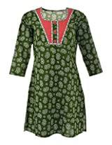 Nira Women's Cotton Regular Fit Kurti (Green,44)