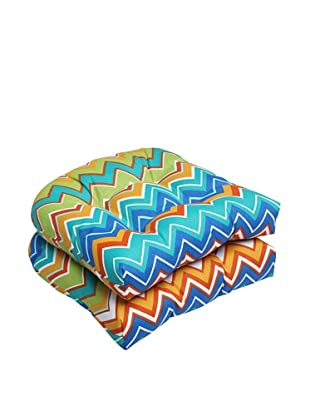 Pillow Perfect Set of 2 Outdoor Zig Zag Wicker Seat Cushions, Orangeaide