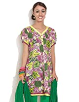 Diva Panelled Kurti With Painted Effect Print, Dark Red,