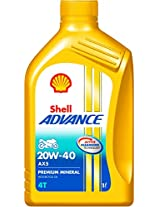 Shell Advance AX5 550031406 20W-40 Premium Mineral Motorbike Engine Oil (1 L)
