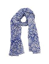 FUGEN Women's Wool Scarf (FF-2048, Blue)