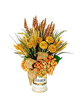 Creative Displays Harvest Floral with Heather & Wheat with Plaid Ribbon & Rust Hydrangeas in Ceramic Container, Rust/Gold