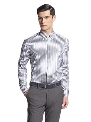 Salvatore Ferragamo Men's Stripe Dress Shirt (Blue /Orange Stripe)