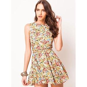 Love Floral Print Skater Dress - Multicolour