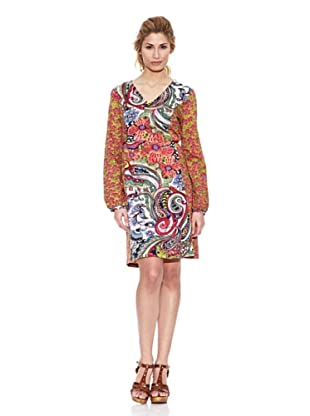 Peace & Love Vestido Cuello Pico Paisley (Multicolor)