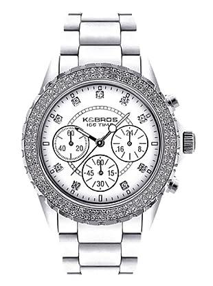 K&BROS 9559-5 / Reloj de Señora  con correa de plástico blanco