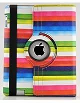 LiViTech(TM) Multi-Color Striped Design 360 Degree Rotating Cover Case for iPad 3 or iPad 2 (Rainbow)