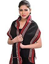Exotic India Scarf from Nagaland with Thread Weave on Border - Color Jet BlackColor Free Size