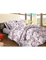 Bombay Dyeing Tuberose Polycotton Two Single Bedsheets with 2 Pillow Covers - Light Pink (71689902)