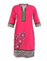 Artinic Hand Painted Women's Cotton Regular Fit Kurti (ARTK0024, Pink, 46)