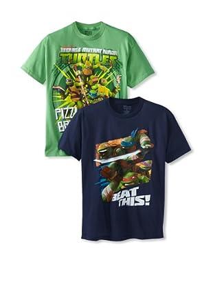 Freeze Boy's Teenage Mutant Ninja Turtles 2 Pack T-Shirt Bundle (Navy/Grass Green)