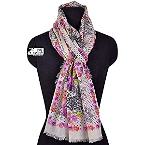 Indisplash Fashion Floral Dot engineered print Scarf/ wrap