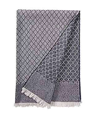 a & R Cashmere Wool & Cashmere Designer Diamond Throw, Creme/Navy