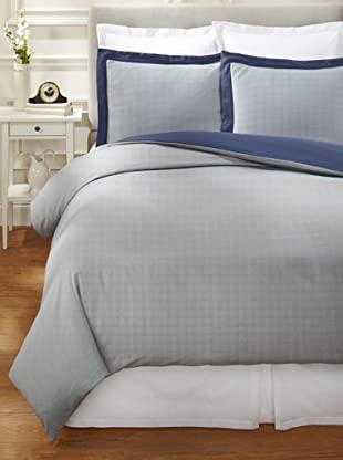 Nine Space Viscose from Bamboo/Cotton-Blend Stripes Duvet Cover Set (Navy)