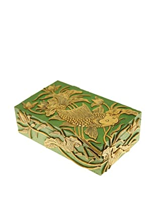 The Niger Bend Rectangular Soapstone Box with Koi Design, Green