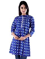 Peppermint Women Cotton 3/4Sleeves Casual Kurti Blue X-Large