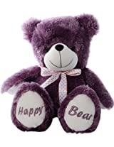 Dimpy Stuff Happy Bear with Embroidery Paws, Purple