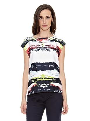 Cortefiel Camiseta Rayas Desiguales (Multicolor)