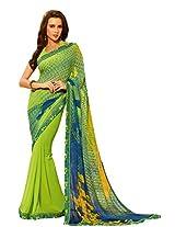 Pagli green colour digital floral printed saree