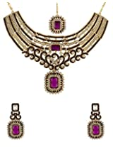 Voylla Purple Maang Tika Set Glittering With CZ Sparkles