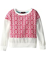 My Michelle Big Girls' Jacquard and Gauze Sweatshirt, Pink, Medium