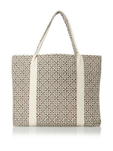 Handmade Interiors Nila Hand Screened Canvas Bag, Charcoal Grey