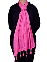 Dulhan Choice Semi Pashmina Painted Stole in Pink colour
