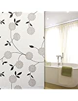 180x180cm Grey Flowers Leaves Pattern Waterproof Bathroom Shower Curtains With Hooks