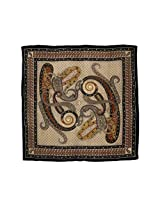 Square Scarf Black - Women Accessories Hand Painted Indian Dresses 42x42 Inches