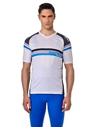 Santini Camiseta Manga Corta V (Blanco/Azul/Negro)