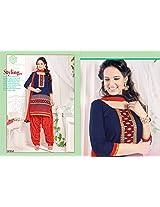 Designer Semi Stitched Blue Color Patiyala Salwar Suit