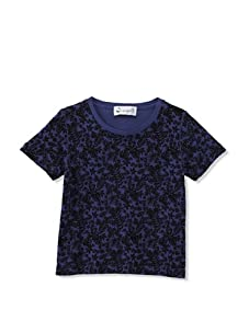 A for Apple Rat T-Shirt with Leaves Print (Blue)