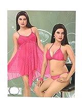 Indiatrendzs Women's Sexy Hot Nighty Fine Pink 3pc Set Baby Doll Eveningwear Freesize