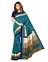 Sangam Saree Womens Royal Blue Cottan Silk Print Saree