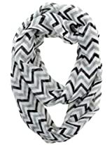 Cotton Cantina Soft Chevron Sheer Infinity Scarf (Black/Gray/White)