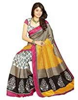 Alethia Multicolor Raw Silk Casual Wear Printed Sarees With Unstitched Blouse