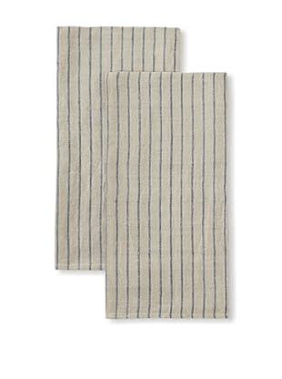 Found Object Le Havre Set of 2 Linen/Cotton Kitchen Towels (Blue/Khaki)
