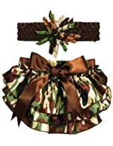 Stephan Baby Ruffled Diaper Cover and Curly Headband Gift Set, Camo Print, 6-12 Months