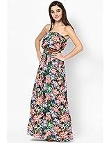 New Look Drop Shoulder Black Printed Maxi Dress