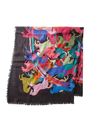 Saachi Women's Galloping Horses Digital Print Square Scarf, Black Multi, One Size