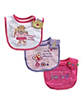 Luvable Friends 3-Pack Side-Closure, Applique & Embroidery Baby Bibs, Girl Set (Discontinued by Manufacturer)