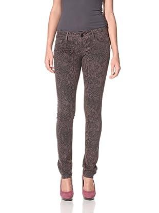 Black Orchid Women's Black Jewel Skinny Leg Python Print Jean (Chocolate)