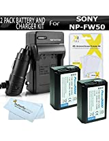 2 Pack Battery And Charger Kit For Sony Alpha a6000 a5000 Alpha 7 a7 a7K a7R Interchangeable Lens SLR CameraIncludes 2 Extended Replacement (1500Mah) NP-FW50 Batteries + Ac/Dc Rapid Travel Charger + LCD Screen Protectors + MicroFiber Cleaning Cloth