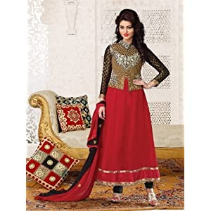Designer Wear Faux Georgette Material Red Colored Semi Stitched Churidar Suit with  Heavy Embroidery - Model Number 527-1009 by Adah Fashion