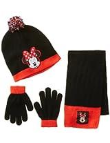Berkshire Girl's 3 Piece Minnie Mouse Pom Beanie Glove and Scarf Set