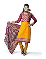 Rajnandini Women's Yellow & Red colour pure cotton Printed Unstitched salwar suit Dress Material (Free Size)