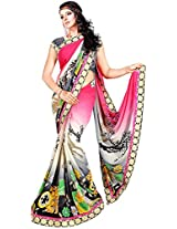 Shree Bahuchar Creation Women's Chiffon Saree(Skb16, Pink and Black)
